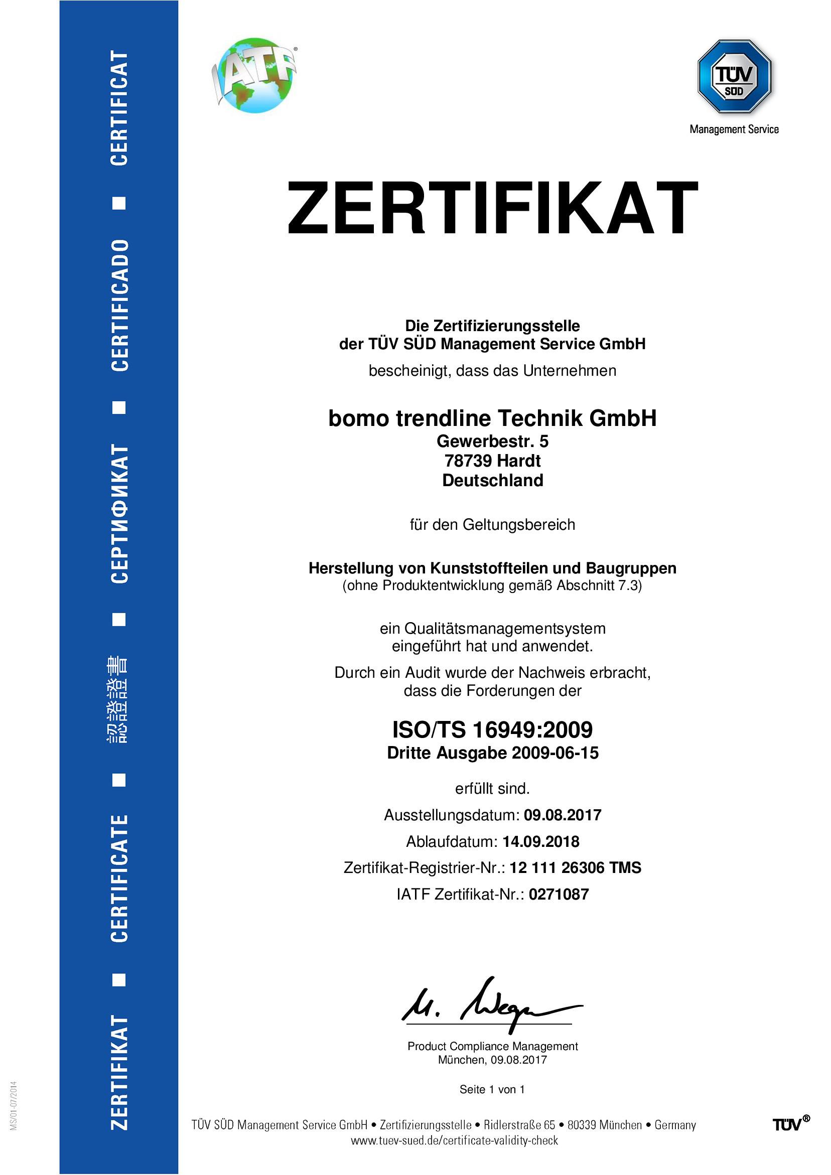 zertifiziert nach ISO/TS 16949:2009